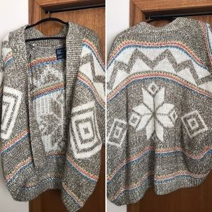 American Eagle Open Front Knit Aztec Cardigan